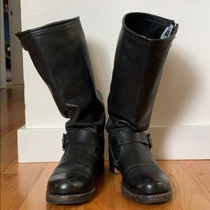 FRYE Boots Tall Black Leather Veronica Boots 8.5